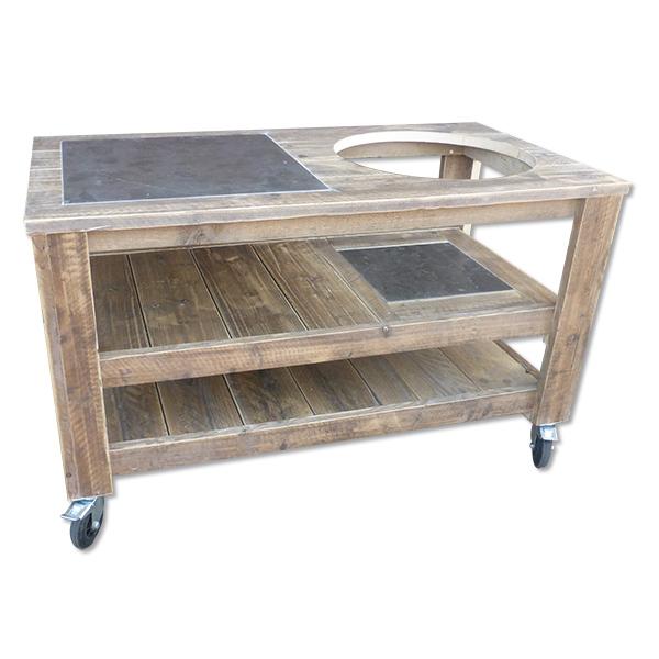 Kamado Tafel Breed Model Gebruikt Steigerhout
